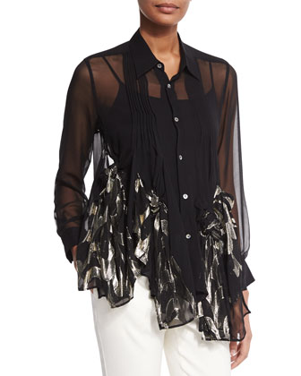 Rose-Knotted Sheer Blouse & Flat-Front Flare Pants
