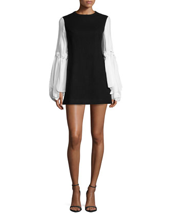 Knotted-Sleeve Wool-Blend Mini Dress