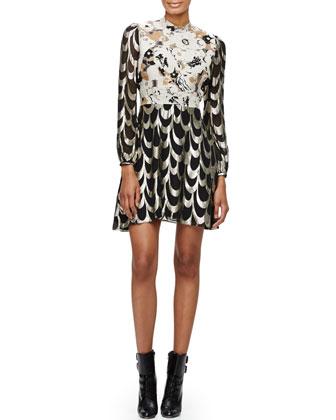 Long-Sleeve Brocade & Lam?? Dress