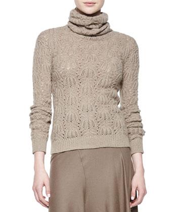 Textured-Cashmere Turtleneck Sweater, Taupe Melange