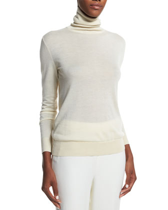 Turtleneck Cashmere Sweater, Cream
