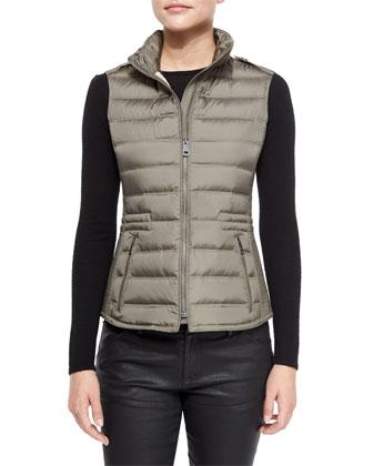 Cranstead Zip Puffer Vest W/ Side Stitching
