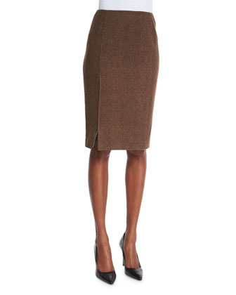 Addie Sleeveless Keyhole Blouse & Textured Pencil Skirt