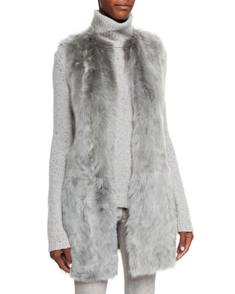 Long Shearling Fur Vest, Turtleneck Cashmere Sweater & Mid-Rise Matchstick ...