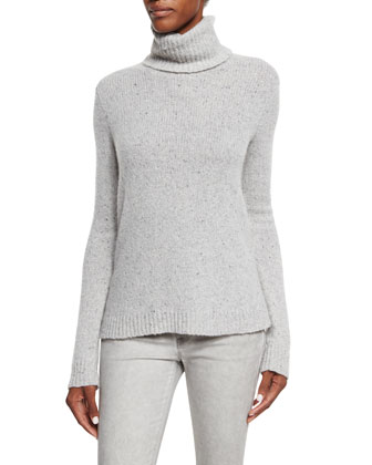 Turtleneck Cashmere Sweater, Light Gray
