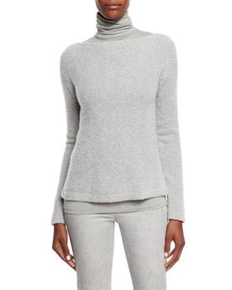 Herringbone Long-Sleeve Sweater & Callie Turtleneck Top