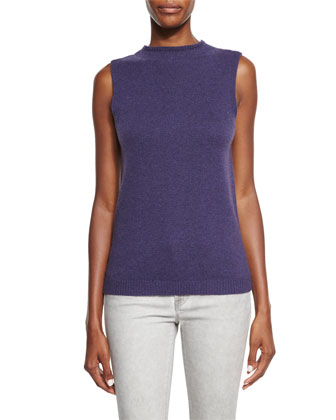 Sleeveless High-Neck Shell, Purple