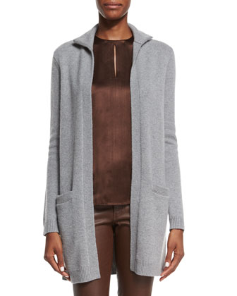 Open-Front Cashmere Cardigan & Stretch-Leather Skinny Pants