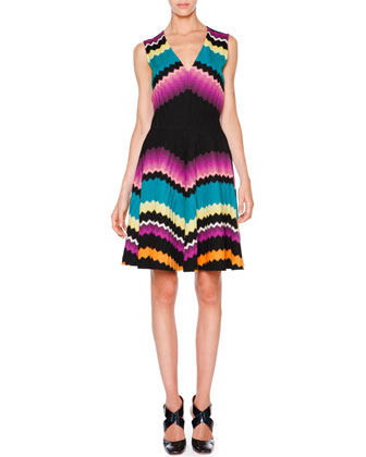 Sleeveless Fit-&-Flare Zigzag Dress, Black/Multi Colors