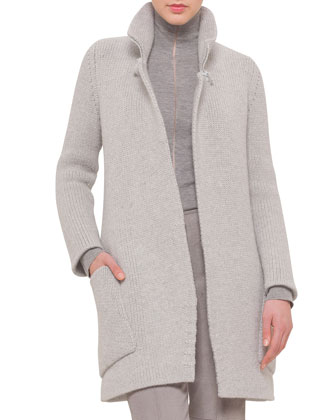 Oversized Zip-Collar Open Cashmere Cardigan & Melissa Antique-Finished ...