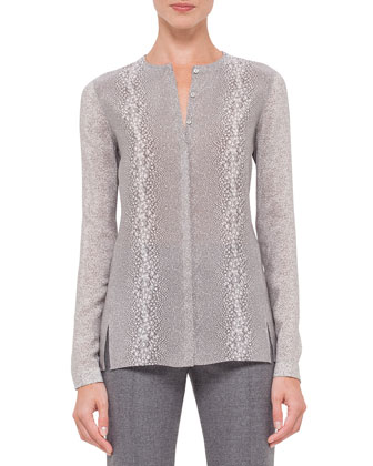 Long-Sleeve Gravel-Print Silk Top, Gravel