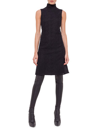 Way Embossed Sleeveless Dress, Black