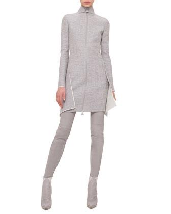 Long-Sleeve Double-Face Apron Dress