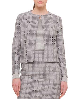 A Jour Plaid Short Jacket, Cashmere-Blend Long-Sleeve Top & A Jour Plaid ...