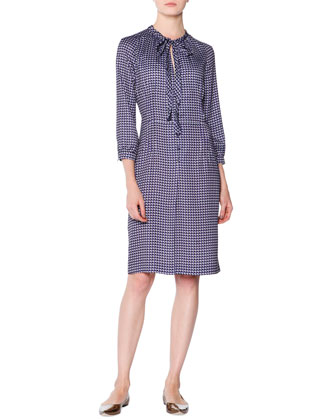 Shadow Dotted Tie-Neck Dress