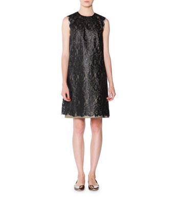 Denim Lace Shift Dress