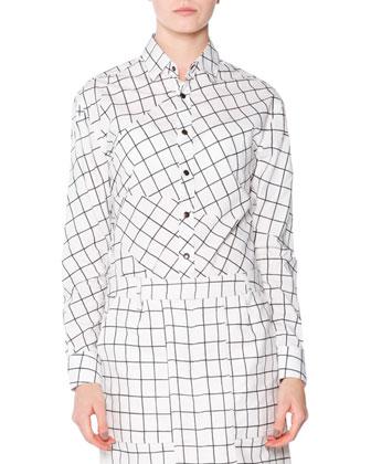 Cashmere Windowpane Check V-Neck Sweater, Jigsaw Check Poplin Button Blouse ...