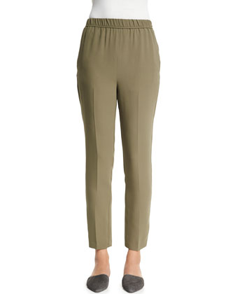 Slim-Leg Silk Ankle Pants, Army