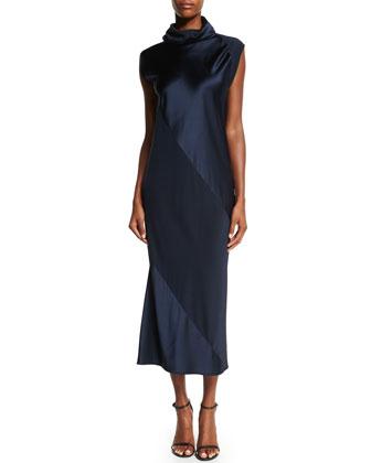 Turtleneck Bias-Cut Sheath Midi Dress, Navy