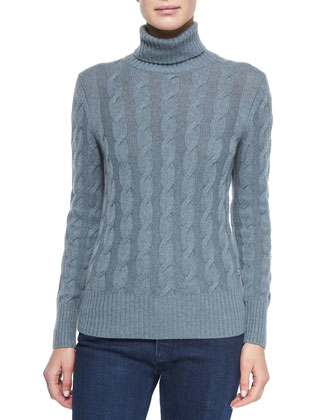 Cashmere Cable Knit Turtleneck Sweater, Seabed Melange
