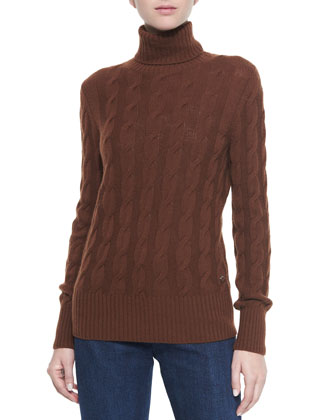 Cashmere Cable Knit Turtleneck Sweater, Carob Brown