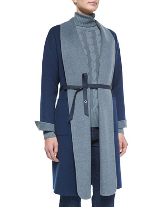 Belted Double-Faced Cashmere Coat, Cashmere Cable Knit Turtleneck Sweater & ...