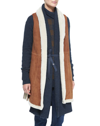 Shearling Fur Vest W/Side Vents, Brown