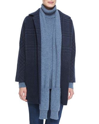 Degrade Houndstooth Cashmere Coat, Dolcevita Cashmere Detachable-Scarf ...