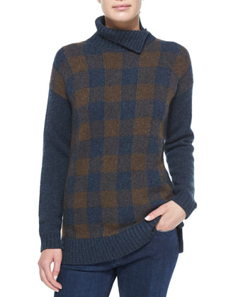 Gingham Check Cashmere Sweater