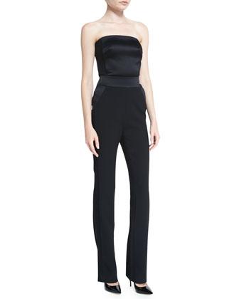 Satin-Trim Tuxedo Jacket & Strapless Slim-Fit Jumpsuit, Black
