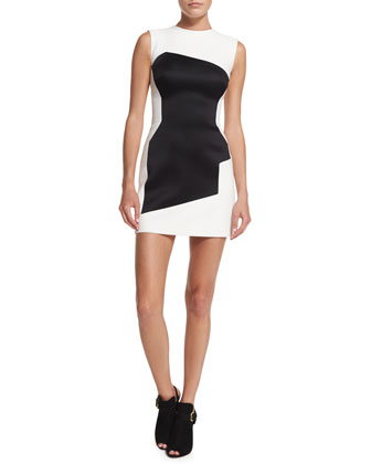 Sleeveless Two-Tone Graphic Dress, Off White/Black