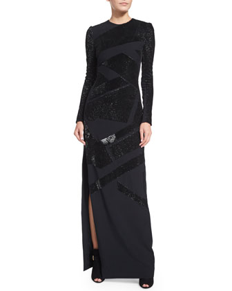 Long-Sleeve Patchwork-Sequin Gown, Navy