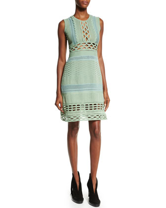 Sleeveless Cutout Sheath Dress, Celadon/Green