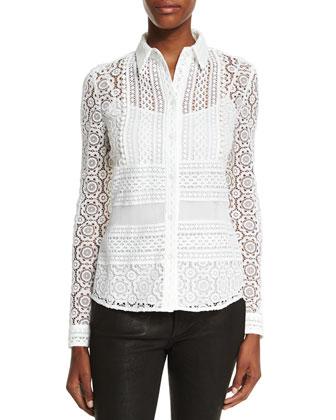Multi-Lace Button-Front Blouse, White