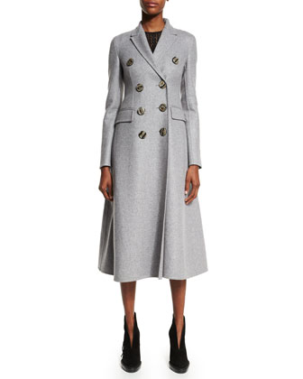 Double-Breasted Cashmere Long Coat, Light Gray Melange