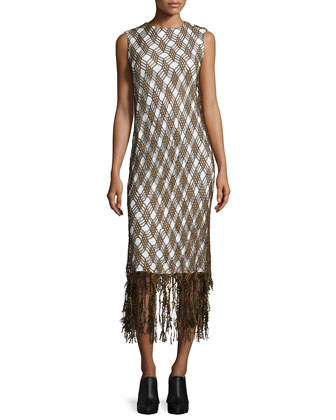Diamond Lattice Lace Fringe Midi Dress