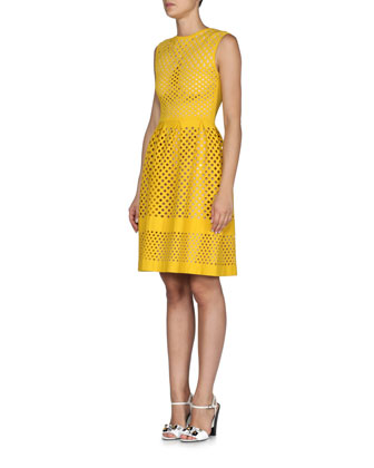 Open Lattice-Pattern A-Line Dress, Yolk Yellow