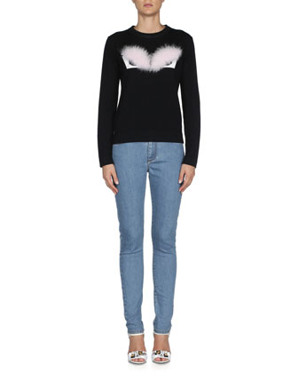 Fox Fur Monster Eyes Sweater, Black