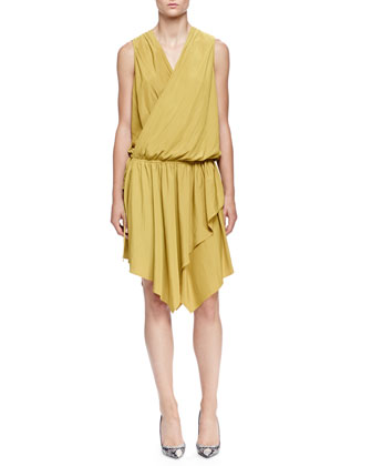 Asymmetric Draped Wrap Dress, Absinth Green