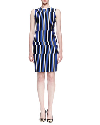 Uneven Striped Jersey Sheath Dress