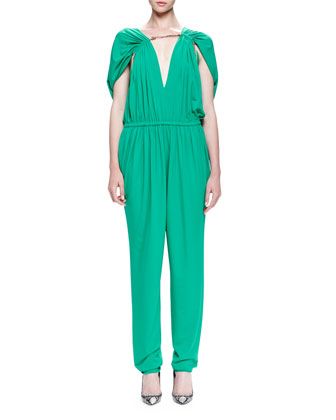 Chain-Threaded Gathered Jumpsuit
