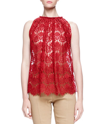 Sheer Lace Trapeze Top