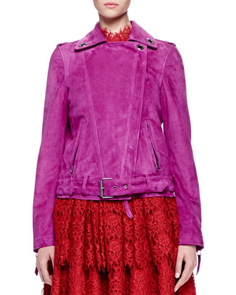 Grommet-Detailed Suede Jacket & Floral Lace-Tiered Fit-And-Flare Dress