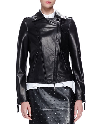 Grommet-Detailed Leather Jacket
