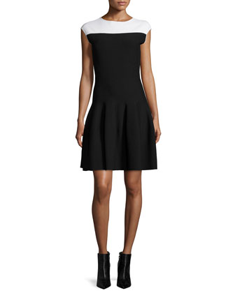 Colorblock Fit-&-Flare Dress, Black/White