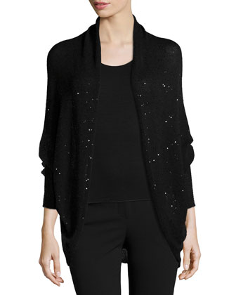 Sequined Open Cascade Cardigan, Black