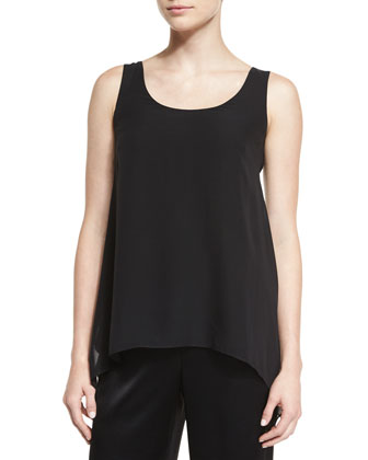 Silk Georgette Scoop-Neck Tank, Caviar