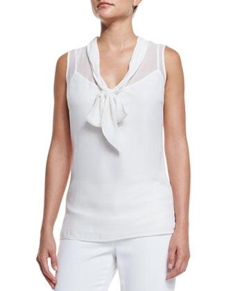 Silk Georgette Tie-Neck Shell, Bianco