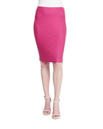Bonbon Knit Pencil Skirt, Cerise