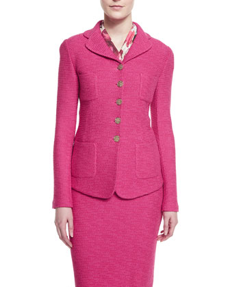 Bonbon Knit Jacket with Pockets, Cerise